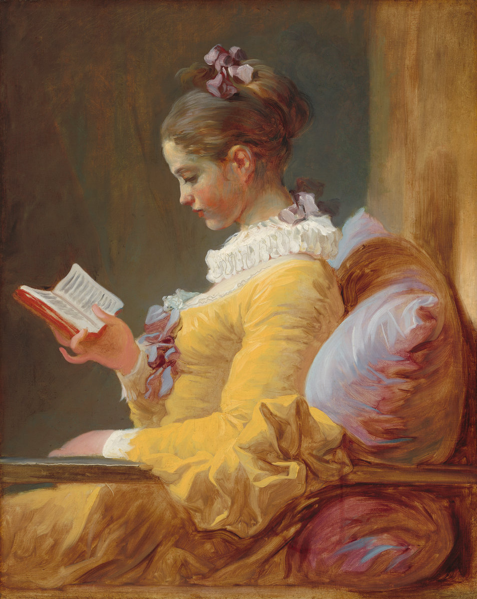 Jean-Honoré Fragonard (French, 1732 - 1806 ), Young Girl Reading, c. 1770, oil on canvas, Gift of Mrs. Mellon Bruce in memory of her father, Andrew W. Mellon
