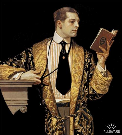 Leyendecker, Man reading, 1916