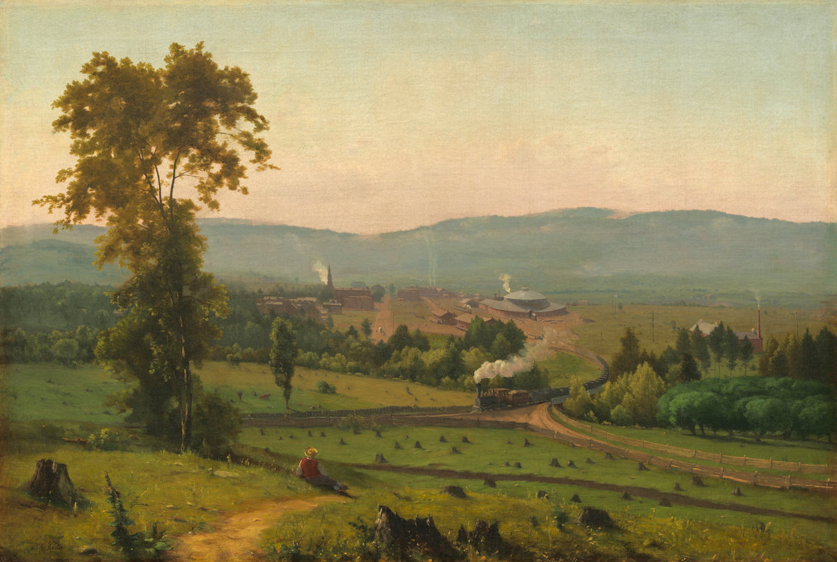 George Inness (American, 1825 - 1894 ), The Lackawanna Valley, c. 1856, oil on canvas, Washington, National Gallery, Gift of Mrs. Huttleston Rogers