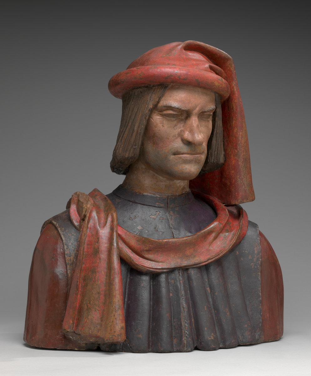 Florentine 15th or 16th Century, probably after a model by Andrea del Verrocchio and Orsino Benintendi, Lorenzo de' Medici, 1478/1521, painted terracotta. Washington, National Gallery, Samuel H. Kress Collection