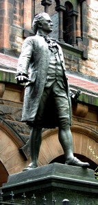 My favorite among New York's four Alexander Hamilton sculptures is by William Ordway Partridge, dedicated 1893. It's at 287 Convent Ave. at 141st St., where Hamilton's home, The Grange, used to stand. The Grange is now around the corner and down the hill, in St. Nicholas Park (414 W. 141st St.). Photo (c) Dianne L. Durante.