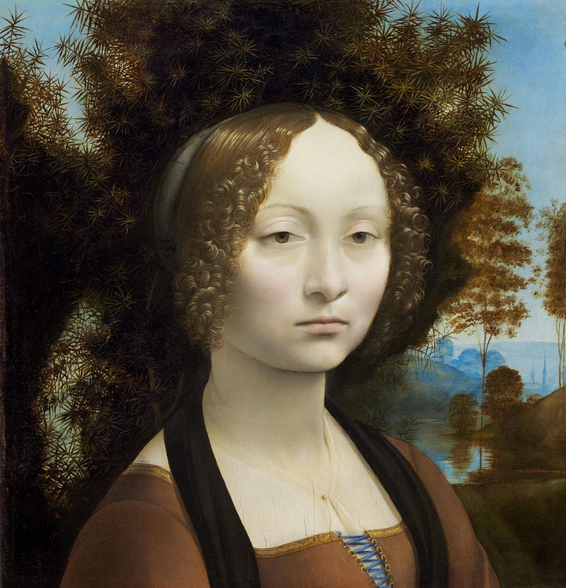 Leonardo da Vinci (Italian, 1452 - 1519 ), Ginevra de' Benci [obverse], c. 1474/1478, oil on panel. Washington, National Gallery, Ailsa Mellon Bruce Fund
