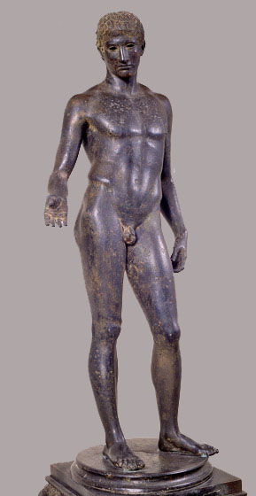 "Youth (""Idolino), c. 30 BC; bronze, copper, and lead. Lent by Soprintendenza per i Beni Archeologici della Toscana (Museo Archeologico Nazionale, Firenze). Photo: National Gallery site."