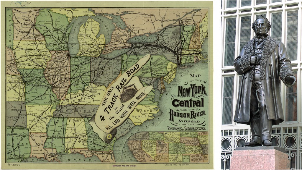 New York Central Railroad map (Wikipedia); Vanderbilt at Grand Central (Dianne L. Durante)