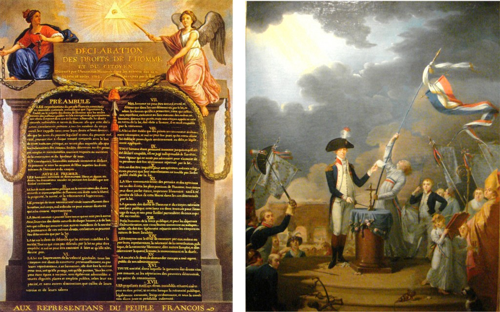 Left: Declaration of the Rights of Man, drafted by the Marquis de Lafayette and Thomas Jefferson. Right: Lafayette giving a speech in 1790. Both images: Wikipedia