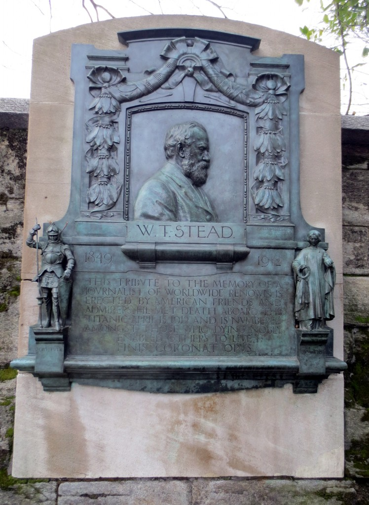 __Frampton, Stead Memorial, 1920 copy of a 1913 original on London's Embankment. Photo: Dianne L. Durante. Below Stead's profile are