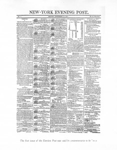 First issue of the New York Post, 1801.
