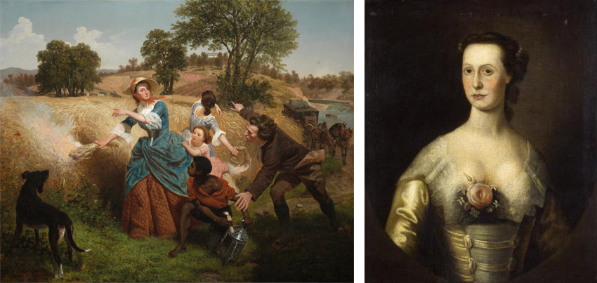 LEFT: Emmanuel Gottlieb Leutze, Mrs. Schuyler Burning Her Wheat Fields on the Approach of the British, 1852. Photo: Los Angeles County Museum of Art. RIGHT: Catherine Van Rensselaer Schuyler. Photo: New-York Historical Society
