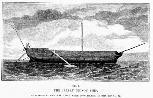 "Ship ""Jersey,"" dismasted and rudderless, used to house prisoners in Wallabout Bay. Image: Wikipedia."