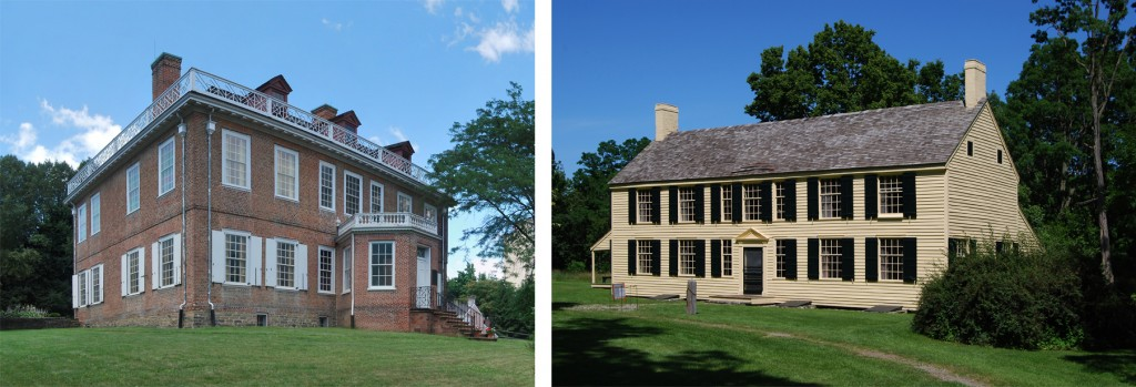 Schuyler mansion in Albany and Schuyler home in Saratoga. Both photos: Wikipedia / Matt Wade Photography