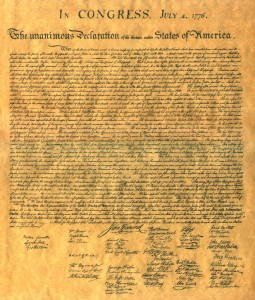 Declaration of Independence, drafted in May-June 1776, adopted by Congress July 4, 1776