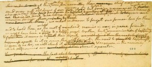 Earliest known draft of the Declaration of Independence, June 1776, in Jefferson's handwriting with suggestions / corrections by the Committee of Five. Photo: Library of Congress via Wikipedia