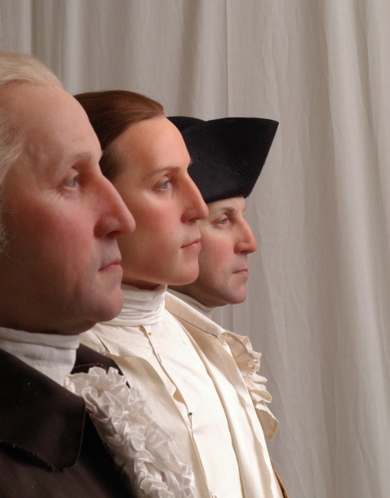 Forensic reconstructions of George Washington at ages 57, 19, and 45, by StudioEIS. Mount Vernon ___. Photo: StudioEIS