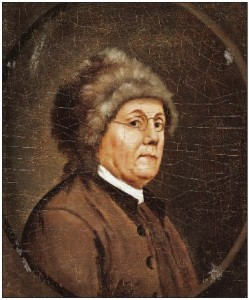 John Trumbull, portrait of Benjamin Franklin as ambassador to France, wearing his oh-so-American fur hat and plain Quaker clothing. Yale University Art Gallery.