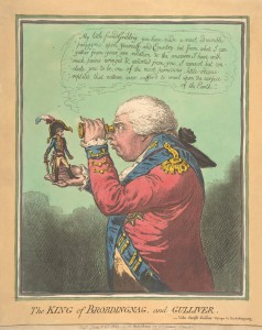 King George III and Napoleon, 1803 cartoon by James Gillray. Image: Wikipedia. The King says, ""
