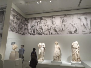 On the wall: full-size photographs of the Great Altar of Pergamon, ca. 200-150 BC. Berlin, Pergamon Museum. Photo: Dianne L. Durante
