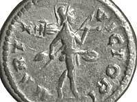 Mars Victor coin, 199-200 A.D. Mars carries the trophy jauntily over his shoulder, so it appears at the upper left.