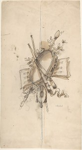 Charles Monblond, sketch of a musical trophy, 19th c. Metropolitan Museum of Art, The Elisha Whittelsey Collection, The Elisha Whittelsey Fund, 1963. Photo: MetMuseum.org