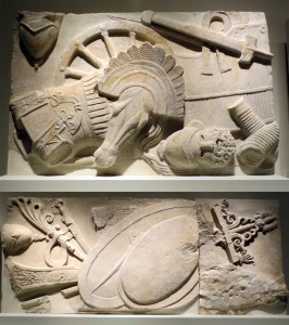 Marble balustrades with reliefs of military spoils, from the Sanctuary of Athena at Pergamon, sculpted under Eumenes II (r. 197-159 BC). One includes captured weapons, armor, helmets, chariots; the other includes naval equipment such as a ship's rudder. Berlin, Antikensammlung, Staatliche Museen; on display at the Metropolitan Museum through July 17, 2016. Photos: Dianne L. Durante