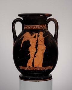 Two-handled jar (pelike) depicting Nike setting up a trophy: the eponymous vase of the Trophy Painter. Greek, ca. 450–440 B.C. Boston, Museum of Fine Arts, Francis Bartlett Donation of 1912