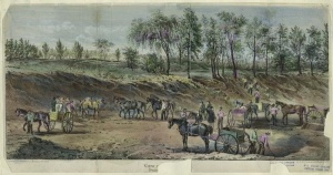 Currier & Ives print of the construction of Central Park, 1859