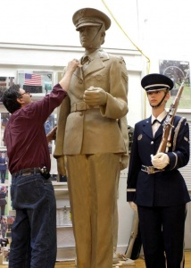 Sculpting the Air Force Memorial, with model at right. Photo (c) Zenos Frudakis.