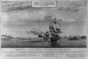 French fleet under d'Estaing approaching Newport, Rhode Island, 1778