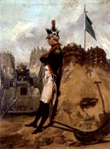 Alexander Hamilton in a battery at Yorktown. Painting by Alonzo Chappel (1828-1887).