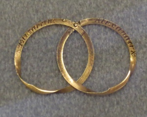 Alexander and Elizabeth Hamilton's wedding bands. Columbia University, Butler Library.