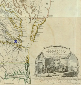 Chesapeake Bay, cropped from a 1776 map of Virginia. Image courtesy David Rumsey Map Collection