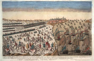 Surrender at Yorktown, 1781, from a French print