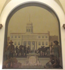 "Fifth mural: ""Agriculture and Mining,"" The building in the background is probably the original Merchants Exchange (1827), in which a 15-foot tall sculpture of Hamilton was dedicated in 1835. The building and the sculpture were reduced to rubble in the Great Fire of 1835. Photo copyright (c) 2016 Dianne L. Durante"
