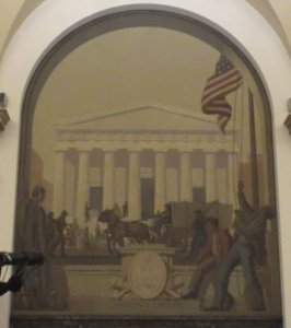 "Sixth mural: ""National Credit, 186__."" In the background is Federal Hall at Wall and Broad Streets. Photo copyright (c) 2016 Dianne L. Durante"