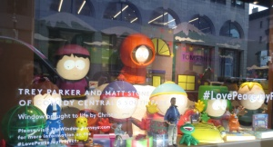 "South Park window at Barney's. They look mind-bogglingly real when they ""talk."""