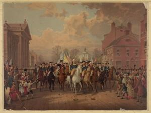 Washington rides down Broadway after the British embark.