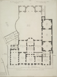 Floor plan of (part of?) Lansdowne House. Dining room is at lower left. Image: Wikipedia